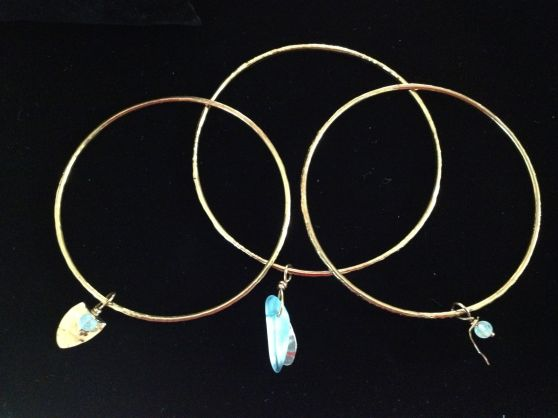 New Gold Bangle with sea glass $20.00