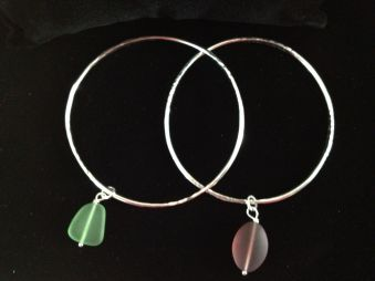 Sterling Silver Bangles Sea Glass Trinket $35.00 ea