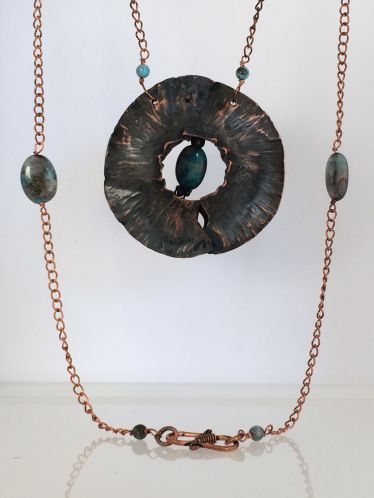 Fold Formed Copper with Bead Pendent $65.00