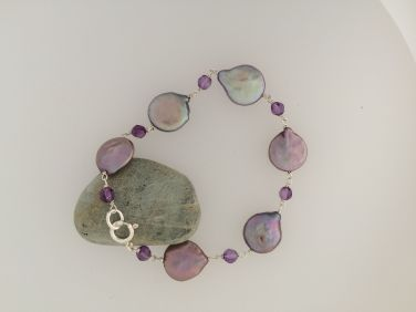 Sea Foam Coin Pearl and Amethyst beads bracelet $150.00